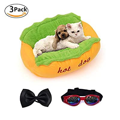 Dog Bed Hot Dog Design Removable and Washable Dog Sofa Dog Mat for Small Animals with Bow Tie and Sunglasses