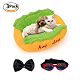 Dog Bed Hot Dog Design Removable and Washable Dog Sofa Dog Mat for Small Animals with Bow Tie and Sunglasses L Review