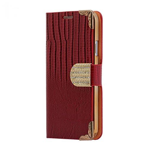 Handy Tasche mit Strass-Steinen Schutz Hülle Für iPhone 5C in Rot Flip Cover Wallet Case Book Style Klapp Etui Schale