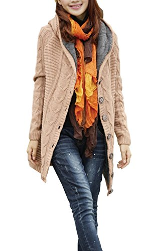 Gihuo Women's Thickened Lined with Fleece Cable Knit Hooded Cardigan Sweater Coat (Khaki, One (Fleece Lined Hooded Cardigan)