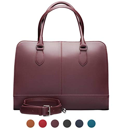 - Su.B.dgn 13.3 Inch Laptop Bag with Trolley Strap for Women | Split Leather | Briefcase, Handbag, Messenger Bag | Made in Italy | Bordeaux Red