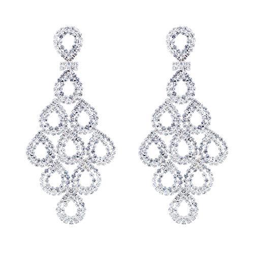 CHRAN Silver Crystal Teardrop Dangle Earrings Rhinestone Chandelier Bridal Jewelry Long Size 2.87