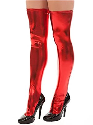 IGIG Women's Wet Look PVC Leather Thigh High Stockings Tights Costume