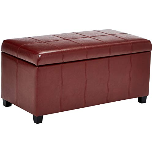 (First Hill Damara Lift-Top Storage Ottoman Bench with Faux-Leather Upholstery, Earthy Red)