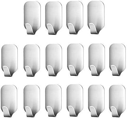 Smaluck - Paquete de 16 ganchos autoadhesivos, acero inoxidable 3M, percha de pared adhesiva para ropa, abrigo, toalla, llaves, bolsas, hogar, cocina, baño, ...