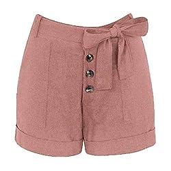 Izhh Womens Casual Pants Plus Size Zipper Elastic Band Hot Pants Lady Summer Shorts Trouser Pink