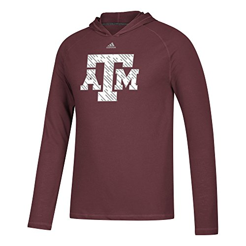 adidas NCAA Texas A&M Aggies Mens Line Shine Ultimate L/S Hoodline Shine Ultimate L/S Hood, Maroon, Medium