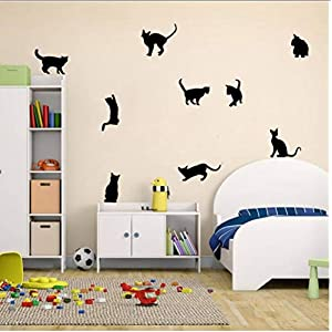 Buzdao Cat Play Butterflies Wall Sticker Removable Decoration Decals for Bedroom Kitchen Living Room Walls