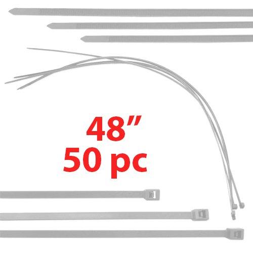 """(White) 50 Pack Huge 4 Foot Cable Tie Ziptie 48"""" Wire Zip"""