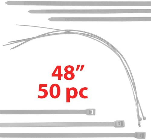 50 Huge White 4 Foot Cable Tie Ziptie 48 Wire Zip