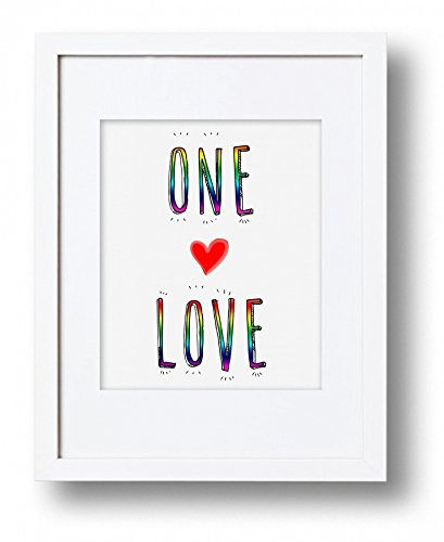 One Love Equal Rights Gay Rights Art Print, Premium Wall Print, LGBTQ, Same Sex Marriage Typography, Rainbow, Gay Pride- Print only by LePetitPain