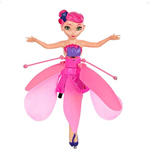 Cindere Kids Flutterbye Flower Fairies Toy Princess Magic flying Doll with Music (Pink)