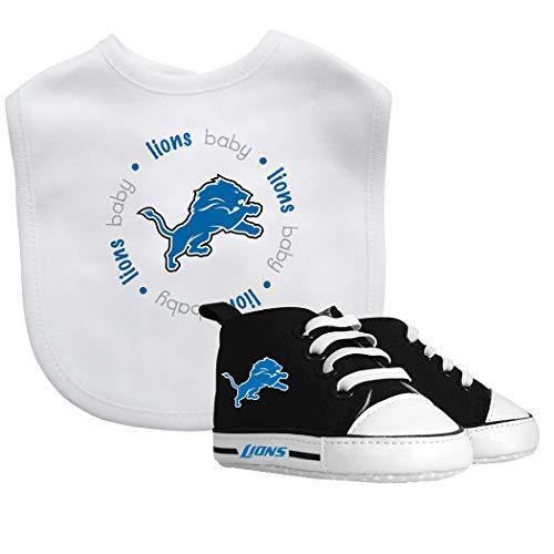 - Bib & Prewalker Gift Set | Bibs Unisex Gift Set for Teething and Drooling, Bib-100% Cotton Front/100% Polyester Backing Shoe Soft for Girls Boys 0-6 Months | Detroit Lions