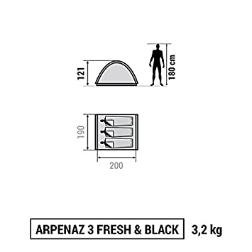 Decathlon - Tienda de campaña Arpenaz Camping Family, Hombre, ARPENAZ 3 FRESH & BLACK