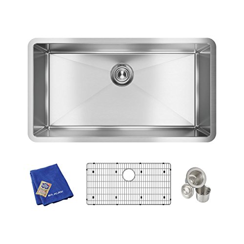 "Elkay Crosstown 16 Gauge Stainless Steel 32-1/2"" x 18"" x 10"", Single Bowl Undermount Sink Kit"
