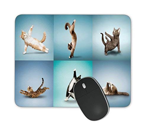 PROEVER Yoga Cat Square Non-Slip Rubber Mouse Pad Gaming Mouse Pad