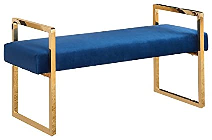 Prime Meridian Furniture 111Navy Olivia Contemporary Style Velvet Upholstered Bench With Gold Stainless Steel Legs 43 L X 17 5 D X 21 H Navy Ibusinesslaw Wood Chair Design Ideas Ibusinesslaworg