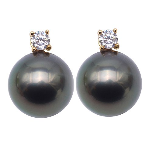 JYX Pearl 18K Gold Stud Earrings AAA Quality 9mm Peacock Green Round Tahitian Cultured Pearl Earrings Studs with Diamond Women Jewelry