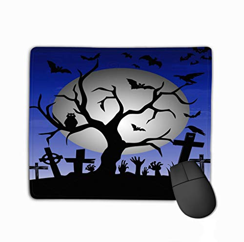 Mouse Pad Happy Halloween Tree Bats owl Gravestone Decoration Full Moon Little Rectangle Rubber Mousepad 11.81 X 9.84 Inch ()