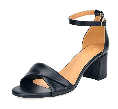DREAM PAIRS Women's Duchess_03 Black Pu Fashion Block Ankle Strap Heeled Sandals Size 9 B(M) US