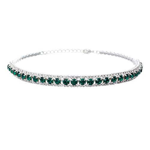 Rosemarie Collections Women's Triple Row Crystal Statement Choker Necklace (Green)