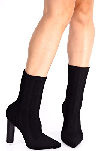 LOLLI COUTURE STRETCH KNIT POINTED TOE KNEE HIGH HEEL CHUNKY BOOT Black-m05-27 oKYqLNiF7