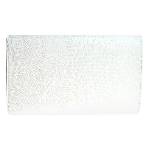 Girly Croc Print Womens Evening Animal White Bag Flat Envelope Ladies Wocharm HandBags Clutch 1RxfqEwq