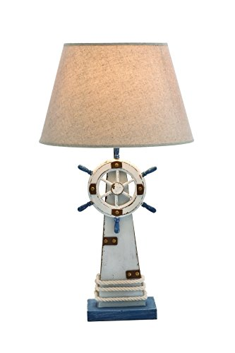 (Benzara 28754 Lighthouse Table Lamp in Wooden Construction with Solid Base)