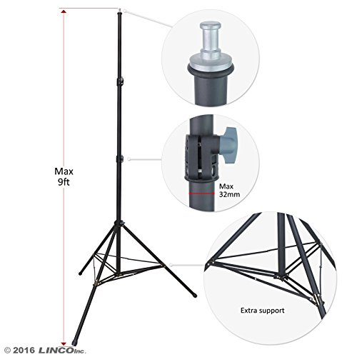LINCO Lincostore Linco Zenith 9 feet Heavy Duty Light Stand for Photography Studio Lighting Kit 8909H - Extra Supporting Rods by Linco