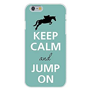 DAOJIE Generic Apple iPhone 6 plus 5.5 inch Custom Case White Plastic Snap On - Keep Calm and Jump On Jockey & Horse