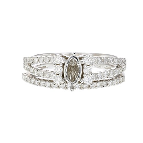 1/2 CT Diamond Semi Mount Bridal Set with Marquise Center in Silver Size 7 Marquise Diamond Semi Mount Ring