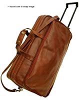 Floto Large Milano Trolley Brown Leather Wheeled Luggage