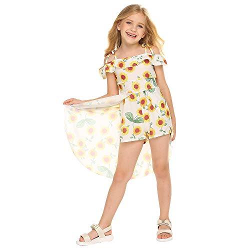 (NoNoAnt Kids Girls Summer Sling Sweet Floral Dress Elegant Girl Princess Ruffles Irregular Culotte Dresses 3-8 Year (White and Yellow,)