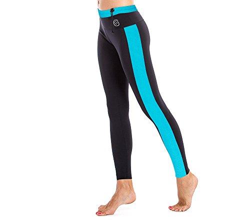 GlideSoul Women's Vibrant Stripes Collection 1 mm Neoprene Leggings, Black/Blue, Medium
