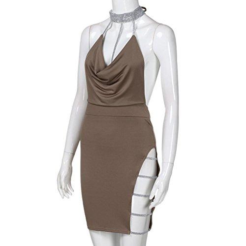 V Elegante da Mini Vestito Donna vestito abbigliamento donna scollo con Vestito Beikoard donna sexy dietro schiena la a V a e Cachi scollo AxEqUFWng