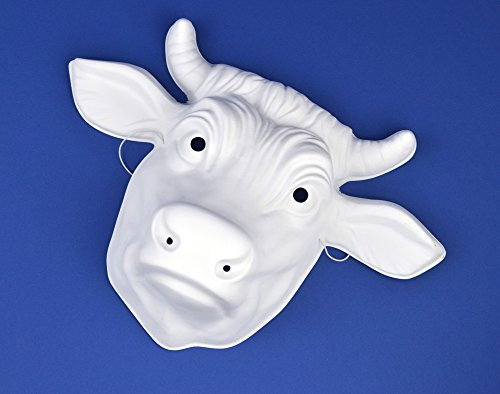10 White Plastic Cow or Bull Masks For Kids Crafts | Masks to Decorate
