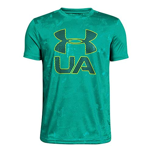 Under Armour Boys' Printed Crossfade T-Shirt, Green Malachite (349)/High-Vis Yellow, Youth Medium