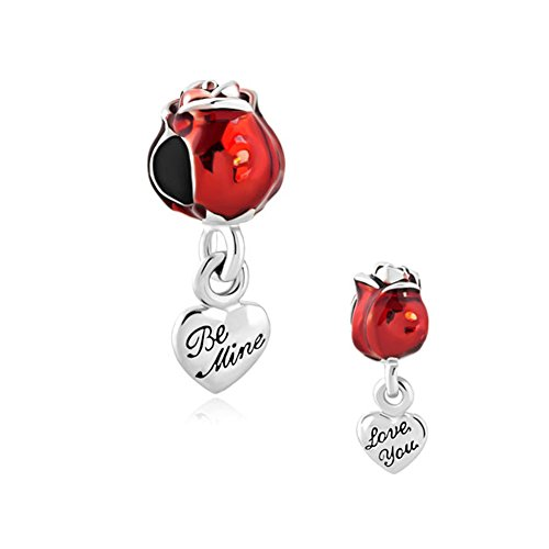 CharmsStory Love You Be Mine Spring Red Rose Flower Charms Dangle Beads For ()