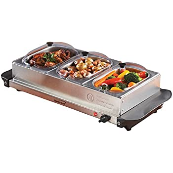 Brentwood BF-315 Buffet Server and Warming Tray 3 Pan, 4.5 Quart, Brushed Stainless Steel