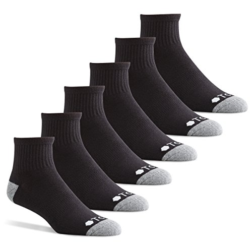 Tall Mens Athletic Socks - TCS Men's Extended Size Quarter Performance Athletic Socks with Arch Support for Running, Tennis, and Casual Use (6 Pair Pack) - Black