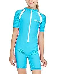 Girls One-Piece Swimsuit Sun Protection Short Sleeve Rashguard Wetsuit UPF50+