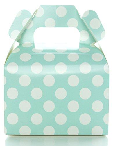 Aqua Blue Polka Dot Candy Favor Boxes (12 Pack) - Small Mini Party Gift Box, Wedding Treat Boxes, Boy / Girl Aqua Birthday Decorations