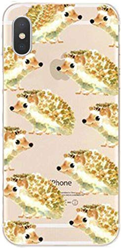 DECO FAIRY Compatible with iPhone X / Xs, Cartoon Anime Animated Cute Adorable Hedgehog Overload Series Transparent Translucent Flexible Silicone Cover Case