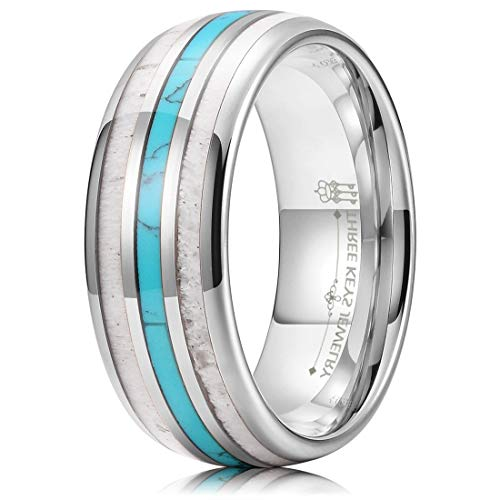 THREE KEYS JEWELRY Men Wedding Bands 8mm Tungsten Hunting Viking Carbide Turquoise Ring with Antler Inlay Polished Infinity Unique for Him Silver Size 10
