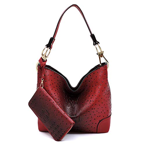 (2 PC Set Ostrich Croco Embossed Vegan Faux Leather Hobo Shoulder Bag Classic Bucket Purse with Matching Wallet)