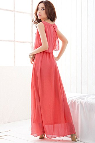 Chiffon Dress Hot Back Split Achicigirl Grace Layered Pink Maxi wW6pgWPXq