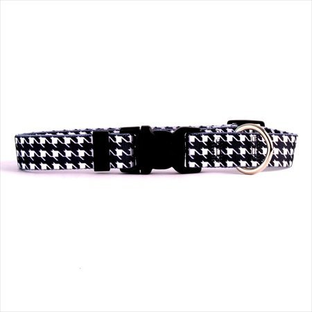 "Houndstooth Standard Collar Size: Teacup (0.375"" x 4-9""), Color: White and Black"