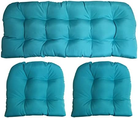 RSH DECOR 3 Piece Wicker Cushion Set – Indoor Outdoor Wicker Loveseat Settee 2 Matching Chair Cushions – Sunbrella Canvas Aruba Turquoise Aqua Blue 1125