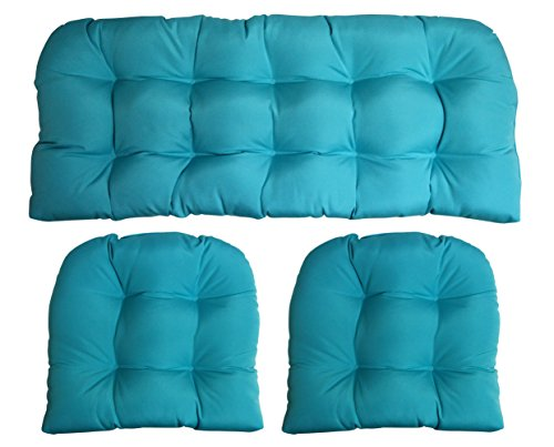 3 Piece Wicker Cushion Set - Indoor / Outdoor Wicker Loveseat Settee & 2 Matching Chair Cushions - Sunbrella Canvas Aruba Turquoise Aqua Blue (1125) (Wicker Loveseat Set)