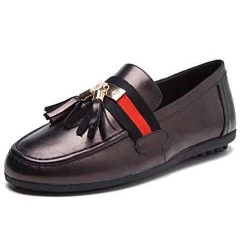 [オス スメミセ] カジュアルシューズ レディース ドライビングシューズ 赤 黒 銀色 フラット タッセル ビット Uチップ おしゃれ 運転 通勤 通学 入学式 卒業式 学生靴